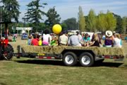 enjoying a hayride at Metchosin Day 2013
