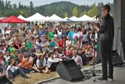 addressing the crowd at Metchosin Day 2012